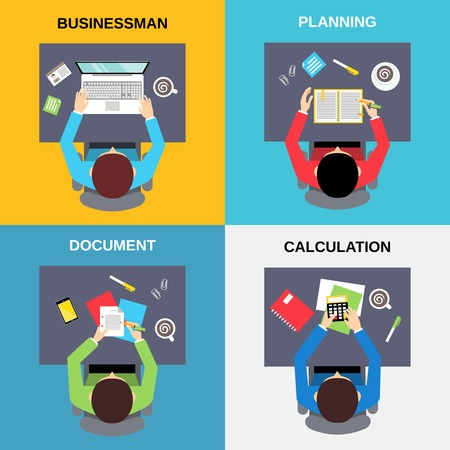 calculation: Top view businessman planning document calculation flat set isolated  vector illustration. Illustration