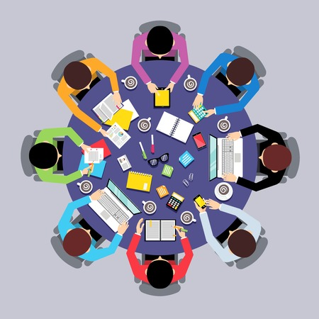 round chairs: Business team brainstorming teamwork concept top view group people on round table vector illustration