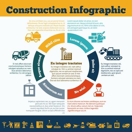 construction management: Presentazione direzione dei lavori di costruzione muratore team di lavoro grafico cerchio infografica con autogru illustrazione vettoriale simboli di attrezzature Vettoriali