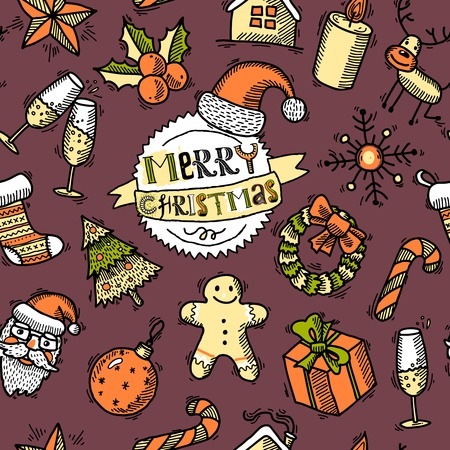 Vintage merry christmas new year holiday decoration sketch colored seamless pattern vector illustration Vector