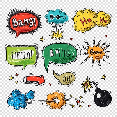 Comic speech bubble hand drawn design element symbol boom splash bomb vector illustration.