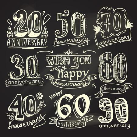 anniversario matrimonio: Anniversario celebrazione cerimonia congratulazioni segni raccolta lavagna insieme isolato illustrazione vettoriale