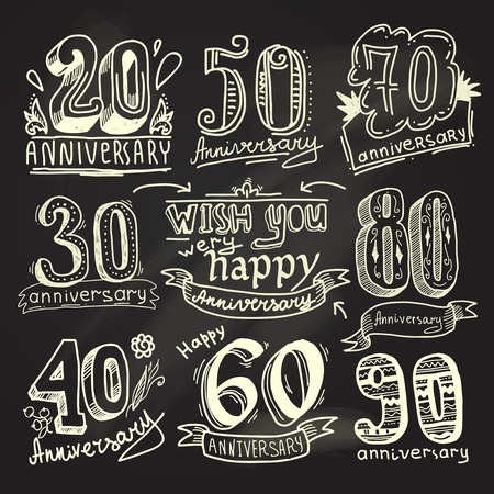 wedding anniversary: Anniversary celebration ceremony congratulations signs chalkboard collection set isolated vector illustration