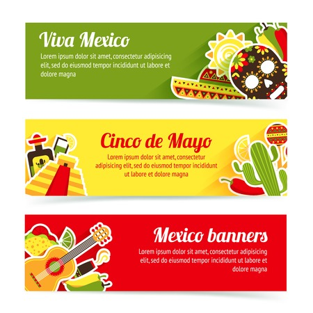 drinks party: Mexico style culture building travel horizontal banner set isolated vector illustration
