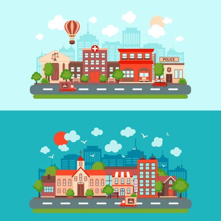 town: City summer street urban town scape abstract set light and dark background isolated vector illustration