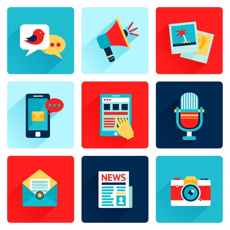 network and media: Media news social communication flat icons set with speech bubble megahone photo isolated vector illustration