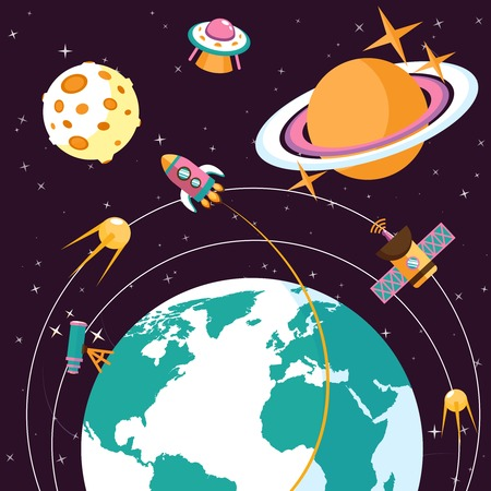 Space concept with globe and rocket satellites astronauts on orbit flat vector illustration