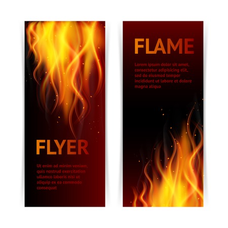 fireballs: Burning hot flame campfire strokes realistic fire on dark background vertical banners set isolated vector illustration