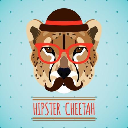 chita: Guepardo animal con gafas y sombrero inconformista bigote ilustración vectorial retrato