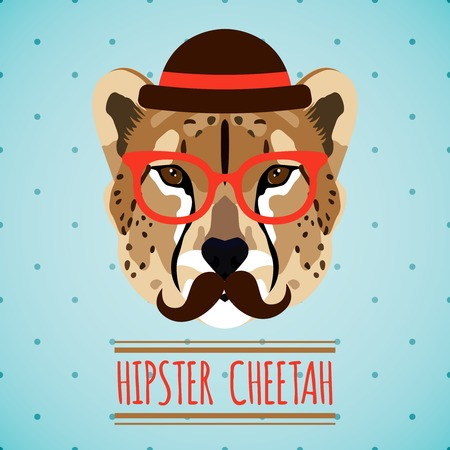 Animal cheetah with hat glasses and moustache hipster portrait vector illustration