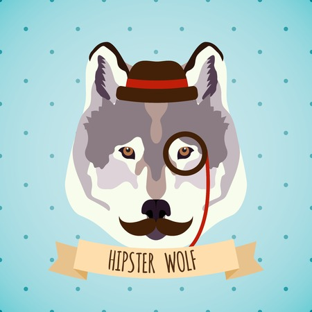 monocle: Animal wolf with monocle hat and moustache hipster portrait vector illustration