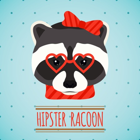 racoon: Animal raccoon with glasses and bow hipster character portrait vector illustration Illustration