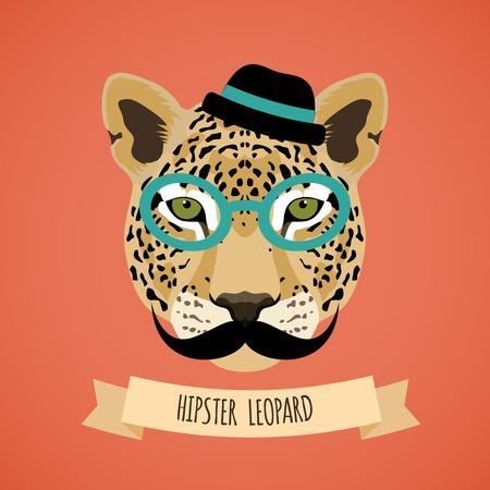 メガネの帽子と髭ヒップスター文字の肖像画ベクトル イラスト動物ヒョウ  イラスト・ベクター素材