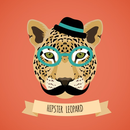 Animal leopard with glasses hat and moustaches hipster character portrait vector illustration Stock Illustratie