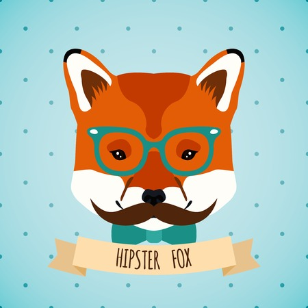 glass heart: Animal fox with glasses bow and moustaches hipster character portrait vector illustration. Illustration