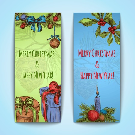Merry christmas happy new year sketch vertical banner set isolated vector illustration Vector