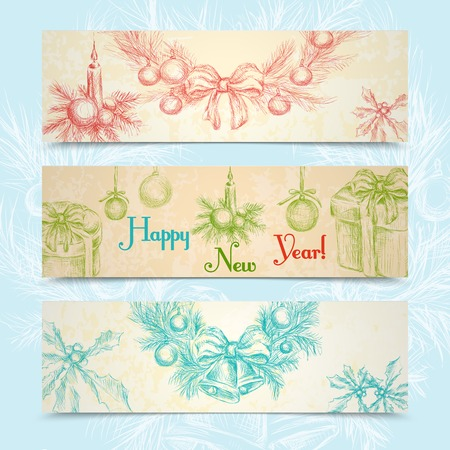Merry christmas happy new year sketch horizontal banner set with holiday decoration isolated vector illustration Vector
