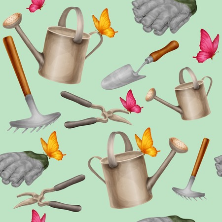 farming tools: Garden tools farming agriculture equipment seamless pattern with gloves can pruner vector illustration.