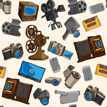 Photo video camera and multimedia entertainment technology colored seamless pattern vector illustration Illustration