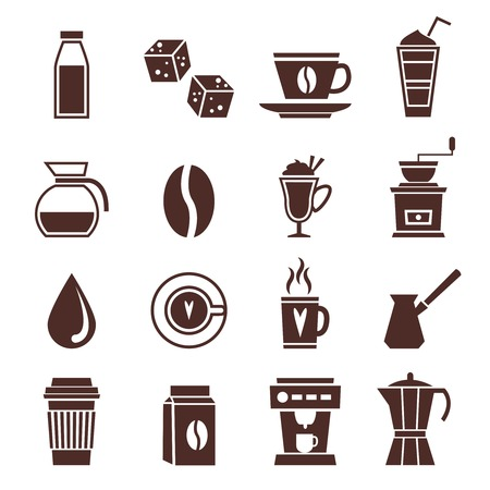coffee machine: Coffee cafe cafeterie shop monochrome icons set with coffee-bulb jar bean isolated vector illustration