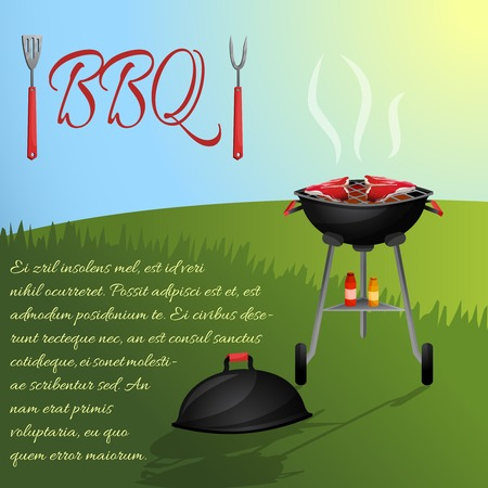 Bbq fresh hot meat steaks grill picnic party with outdoor background vector illustration Vector