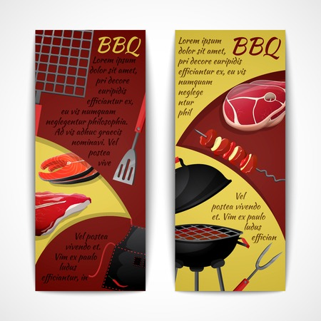 Bbq party fresh hot meat grill menu vertical banner set isolated vector illustration Vector