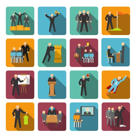discourse: Leadership flat icons set with discourse idea leader negotiations isolated vector illustration