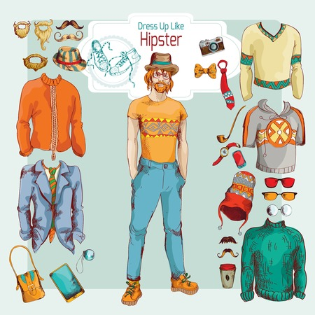 Hipster boy pack sketch retro decorative icons clothes and accessories set vector illustration Vector