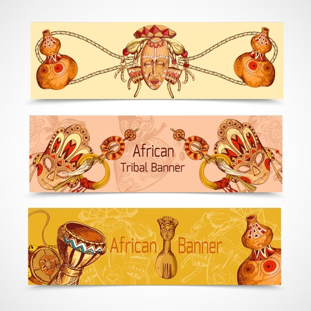 african drums: Africa safari ethnic tribal culture travel sketch colored horizontal banner set isolated vector illustration