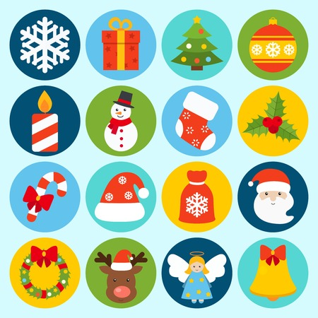 pine tree isolated: Christmas holiday decoration icons set with snowflake gift box pine tree isolated vector illustration
