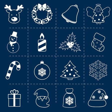 tree outline: Christmas holiday decoration outline icons set with deer wreath bell angel isolated vector illustration