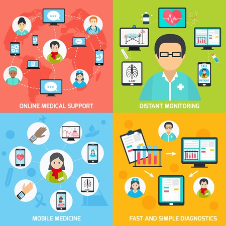 distant: Mobile health online medical support distant monitoring flat set isolated vector illustration