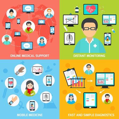 apoyo social: Salud móvil apoyo médico de observación distante conjunto plana en línea aislado ilustración vectorial Vectores