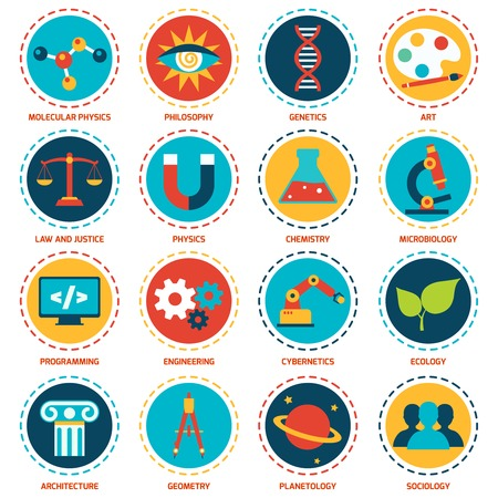 Science areas icons set with molecular physics philosophy genetics art isolated vector illustration Illustration