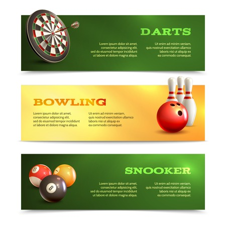 Game realistic horizontal banner set with bowling snooker darts isolated vector illustration Illustration