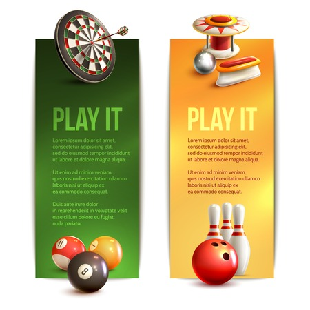 Game realistic vertical banner set with bowling pinball billiard darts isolated vector illustration Vector
