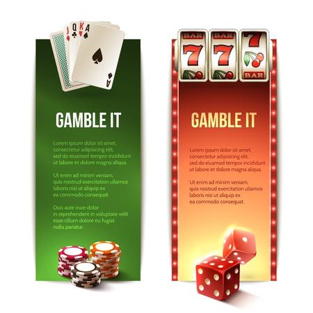 Apuesta casino se banners verticales fijados con los dados de la máquina de tarjetas de chips de ranura aislado ilustración vectorial Vectores