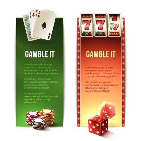 dados: Apuesta casino se banners verticales fijados con los dados de la máquina de tarjetas de chips de ranura aislado ilustración vectorial Vectores