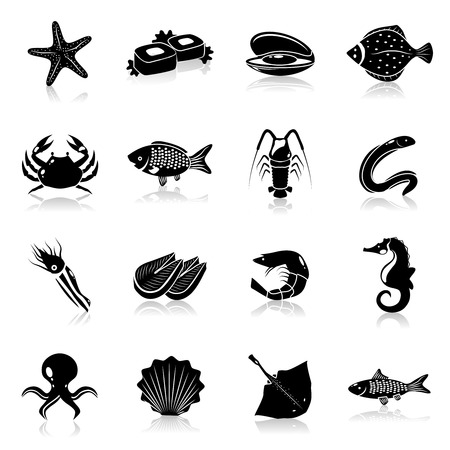 eel: Seafood icons black set with starfish prawn lobster clam isolated vector illustration
