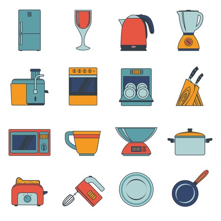 Kitchen appliances icons flat set with fridge wine glass kettle blender isolated vector illustration Vector