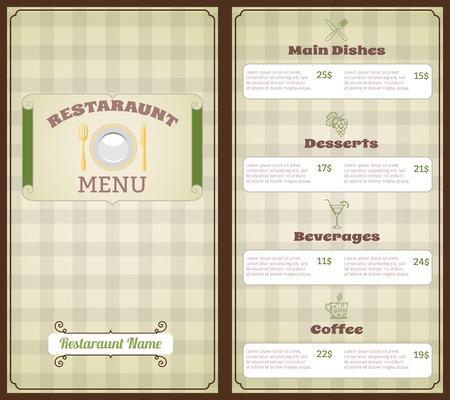 main dishes: Plantilla de restaurante lista de men�s con platos principales postres ilustraci�n bebidas caf� vector Vectores