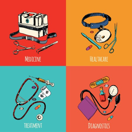 Medicine emergency healthcare colored sketch flat icons set of treatment diagnostics isolated vector illustration Vector