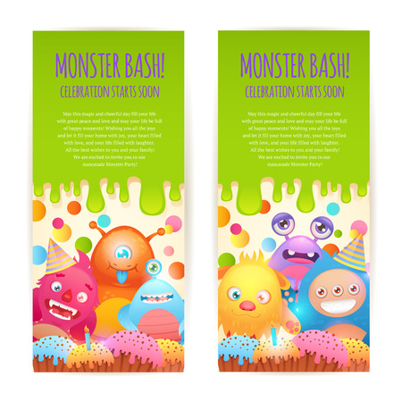 bash: Cute cartoon monsters funny alien character celebration bash vertical banners set isolated vector illustration