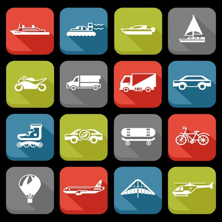 Transport flat icons set with roller skate balloon plane isolated vector illustration Vector