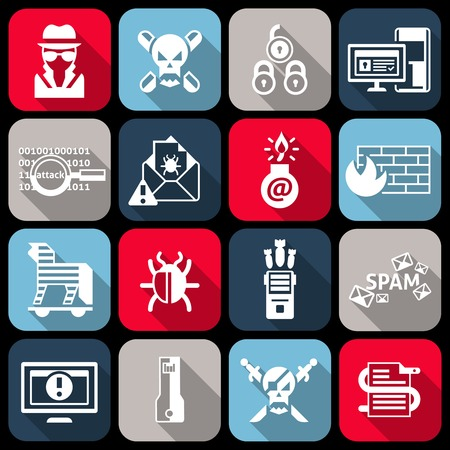 computer virus protection: Hacker web protection icons flat set with virus worm crack isolated vector illustration
