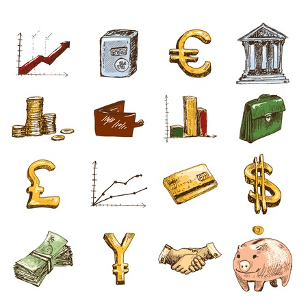 Finance banking business money exchange sketch colored icons set isolated vector illustration Vector
