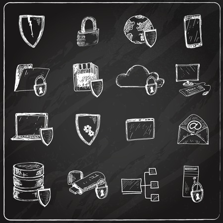 Computer data protection and secure database hosting chalkboard icons set isolated vector illustration Illustration