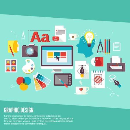 Concept icônes de conception graphique fixés avec le processus de la créativité de la palette Digital Designer vecteur isolé illustrations