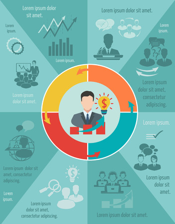presentation people: Business meeting infographic set with pie chart and businessman avatar vector illustration Illustration