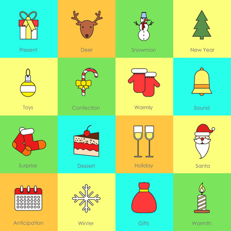 Christmas icons flat line set with present deer snowman isolated vector illustration Illustration
